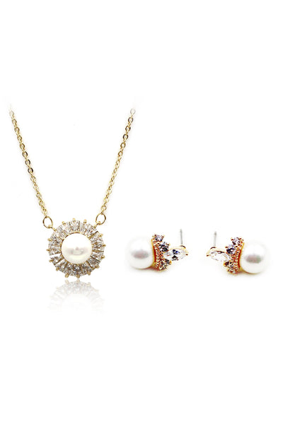 elegant pearl crystal earring necklace set
