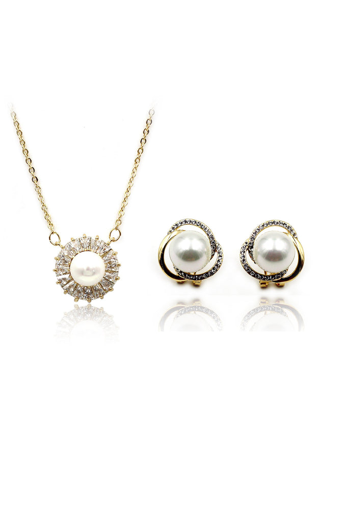 temperament pearl necklace earring set