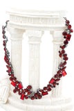 fashion all red square round crystal necklace