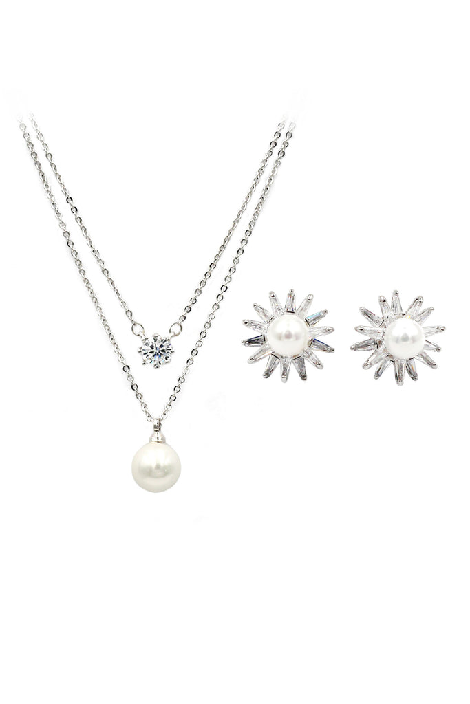 small daisy crystal pearl earring necklace set