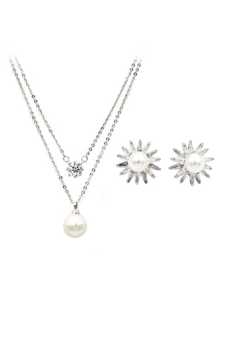 fashion glistening crystal silver sets