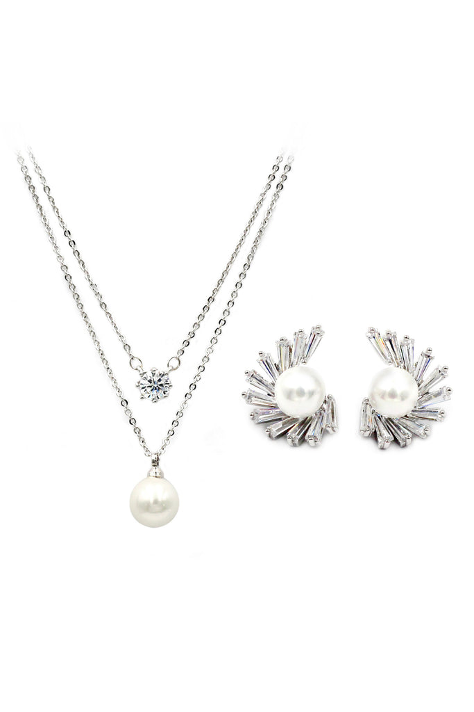 double crystal chain pearl earring set