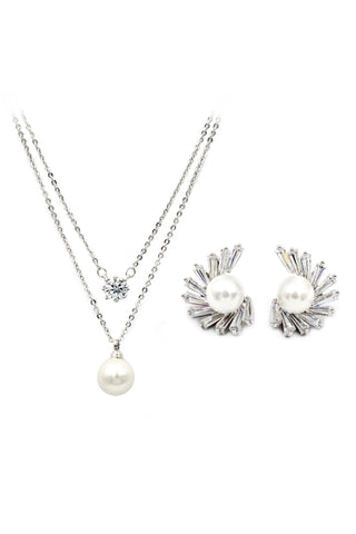 mini wing pearl necklace earring set