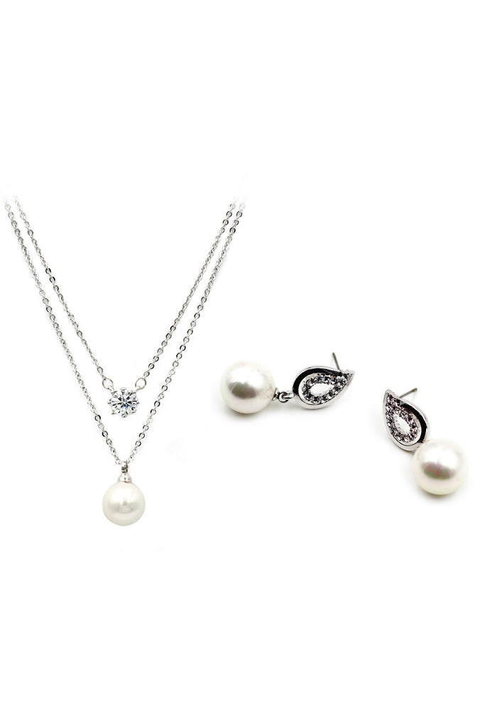 fine pearl crystal necklace earring set