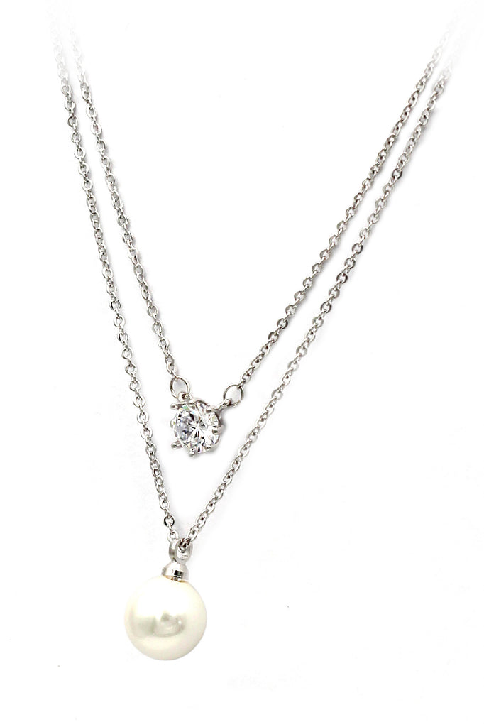exquisite double-chain crystal pearl necklace