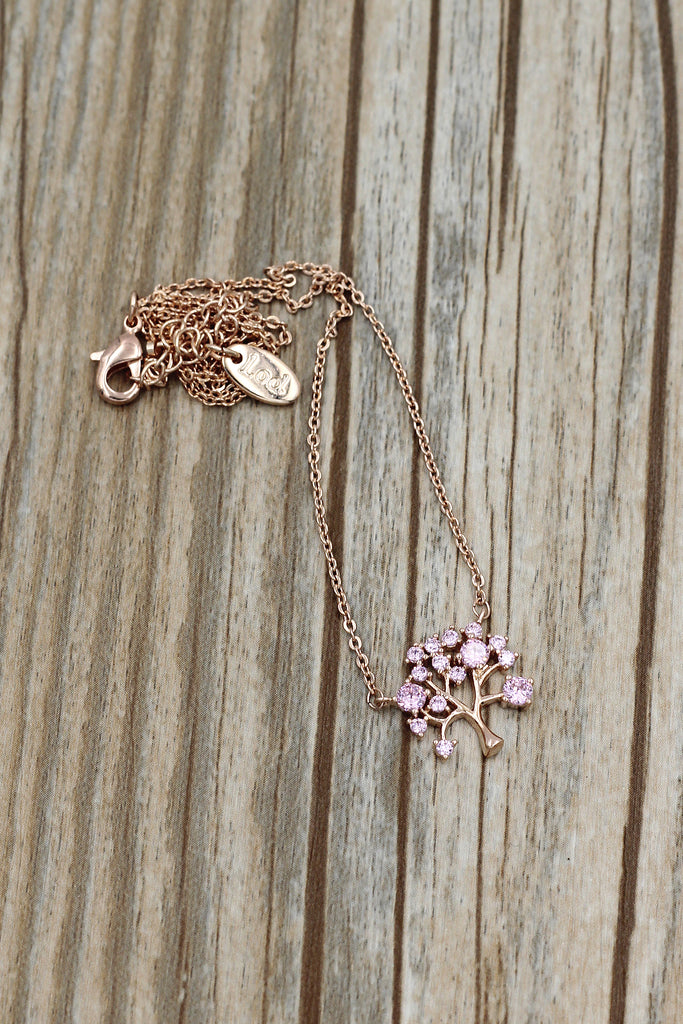 pink crystal tree pendant necklace