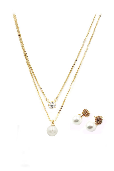 golden crystal pearl earrings necklace set