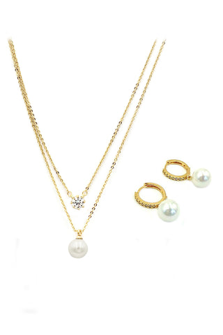 fashion crystal groats necklace earrings set