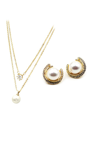 fashion inlaid pearl necklace earrings set