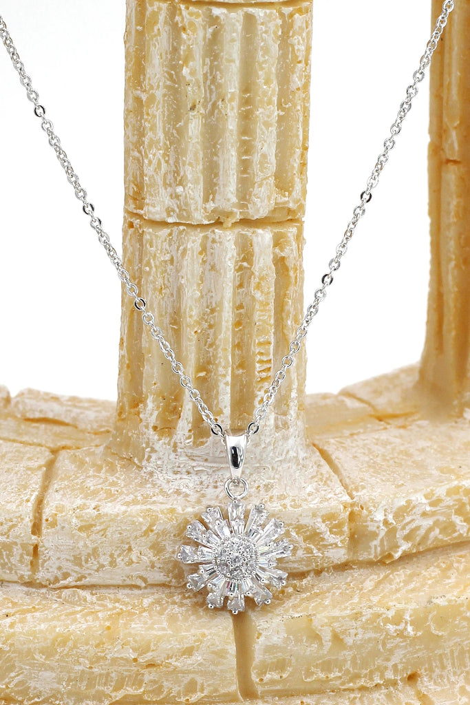 Small daisy crystal ring necklace set