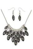 fashion colorful crystal necklace earrings silver sets
