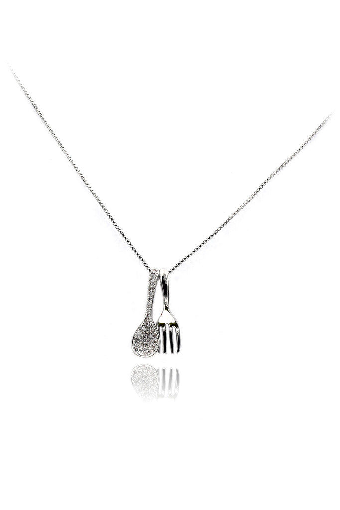 creative mini cutlery crystal necklace