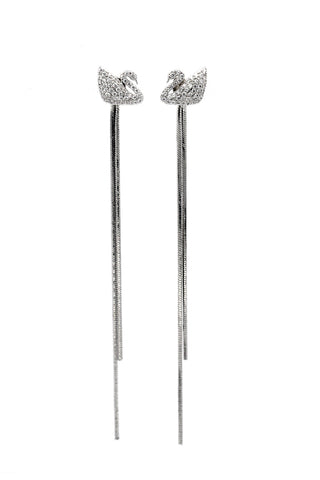 stylish silver shiny crystal earrings