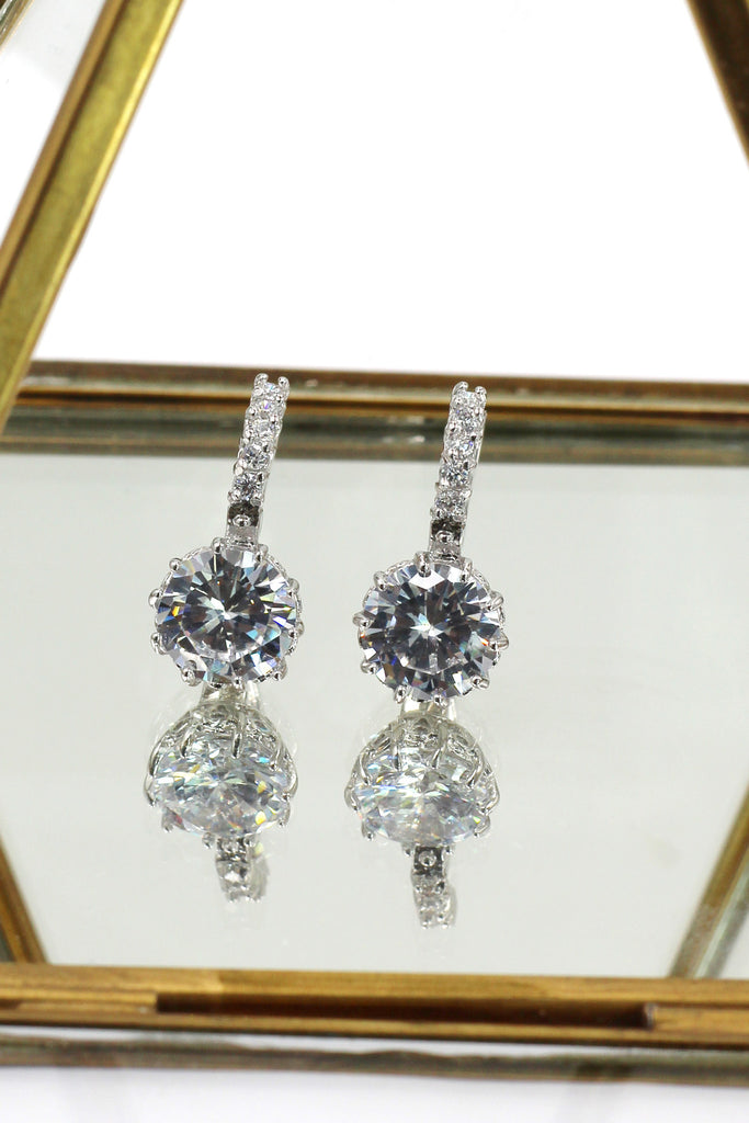 noble silver diamond earrings