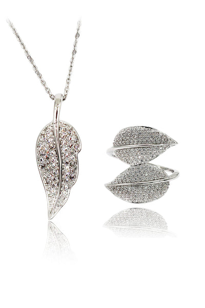 leaf crystal ring necklace set
