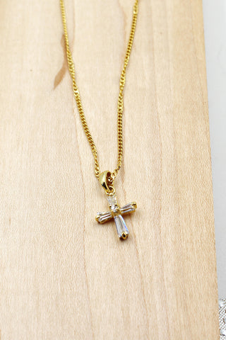 pearl and crystal mini key necklace