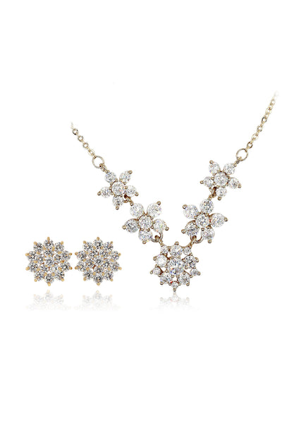 pretty crystal flower necklace earrings set