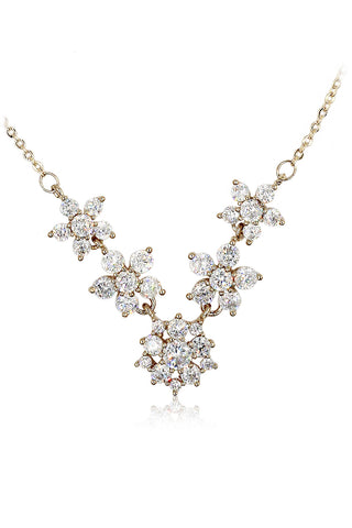 delicate mini crystal pearl silver necklace
