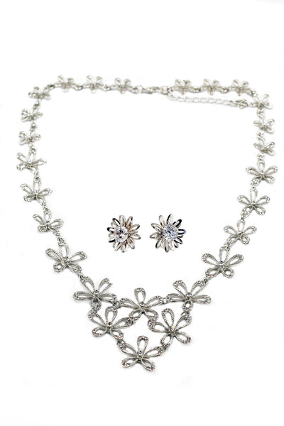 silver flowers crystal necklace earrings set