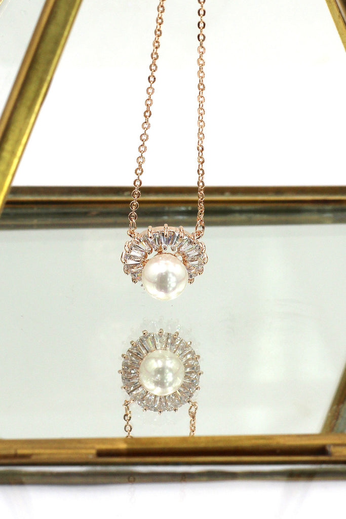 sun flower crystal necklace pearl earring set