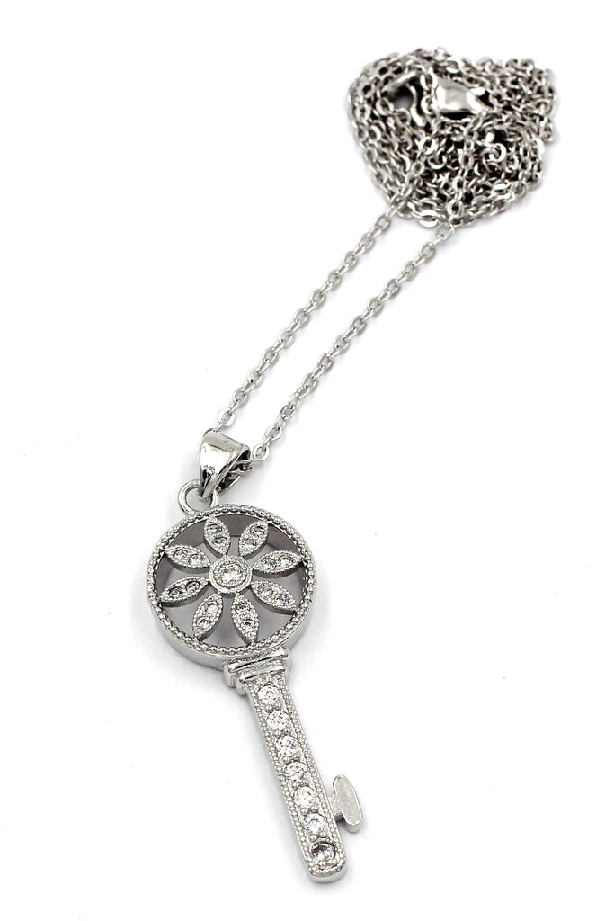 fashion hollow flower crystal key necklace