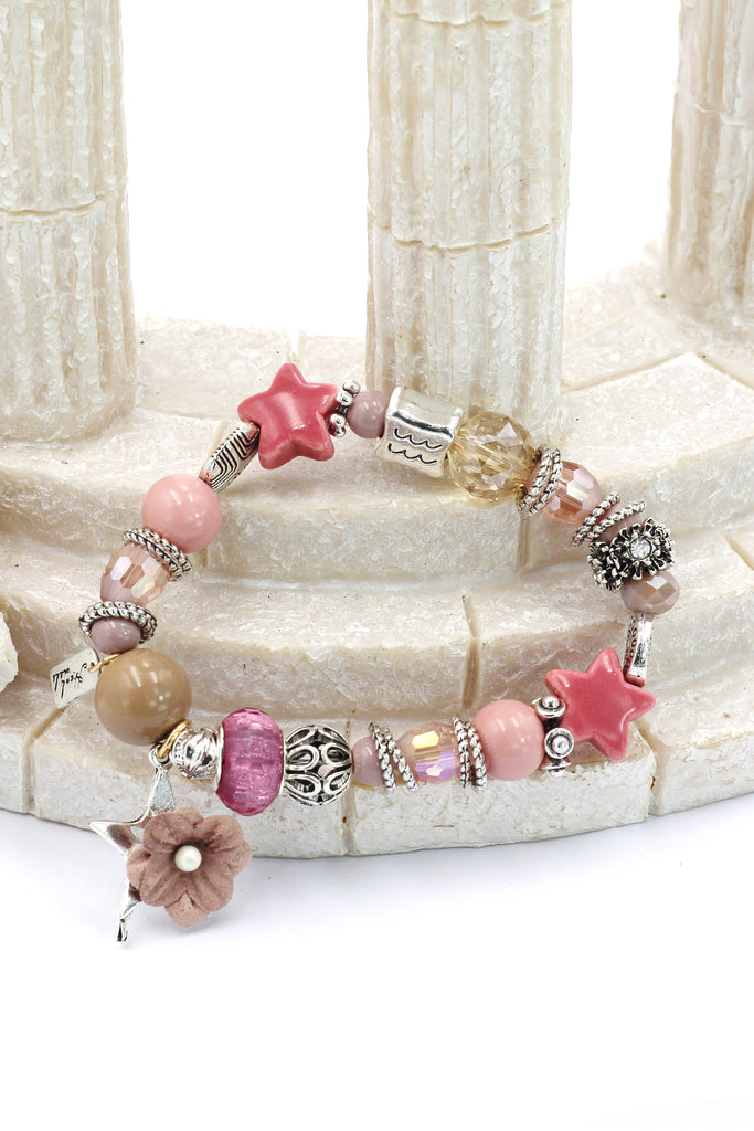 colorful bead flower star bracelet