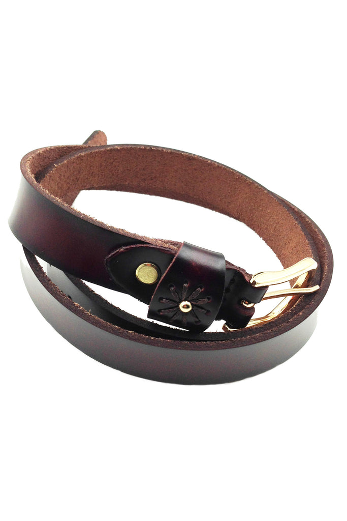 gold buckle single flower leather belt