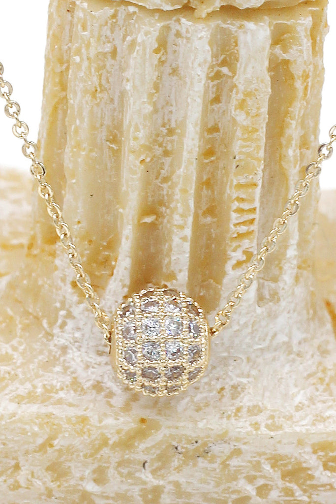 lucky small crystal ball clavicle necklace
