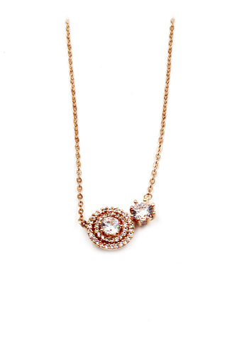 golden shiny crystal heart necklace