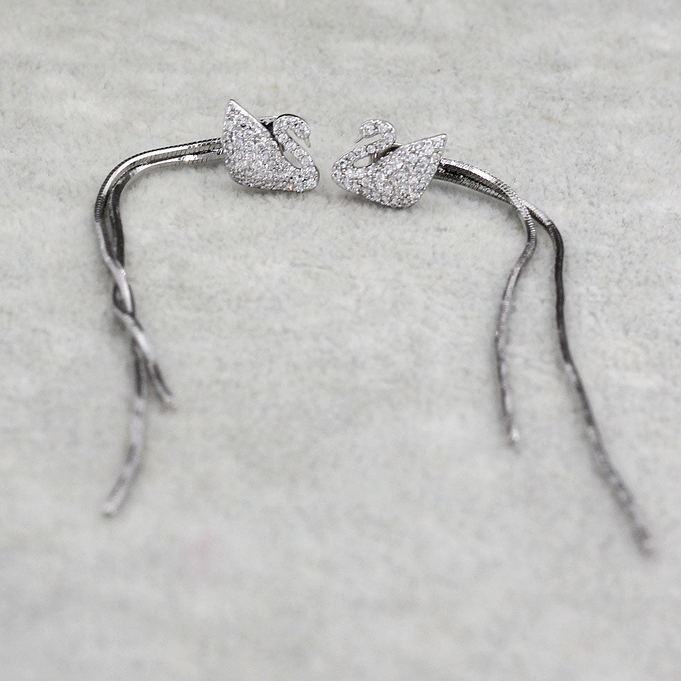 long ear swan crystal earrings