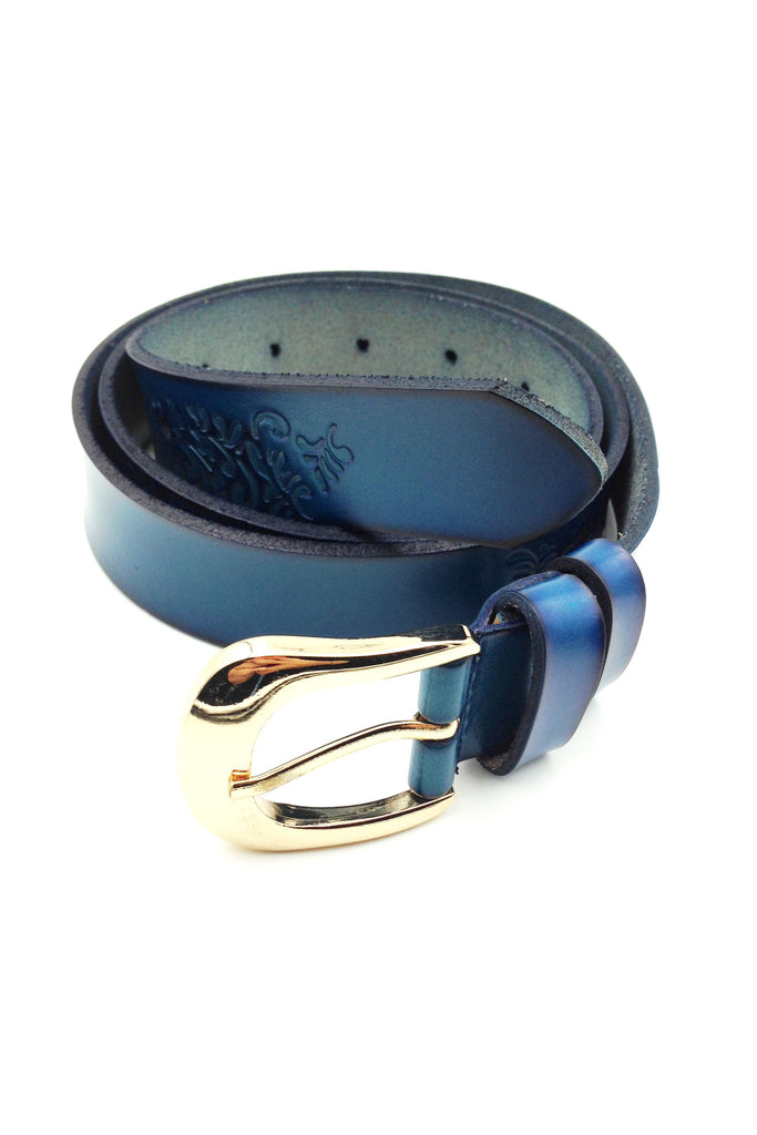 Gold BuckleTattoos blue leather belt