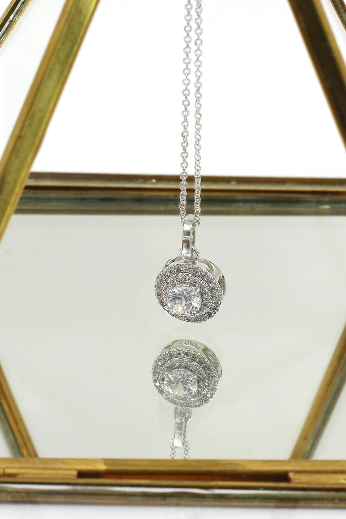 simple crystal earrings necklace ring set