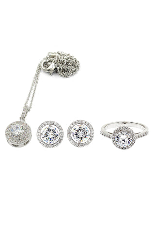 mini crown crystal pearl earring ring set