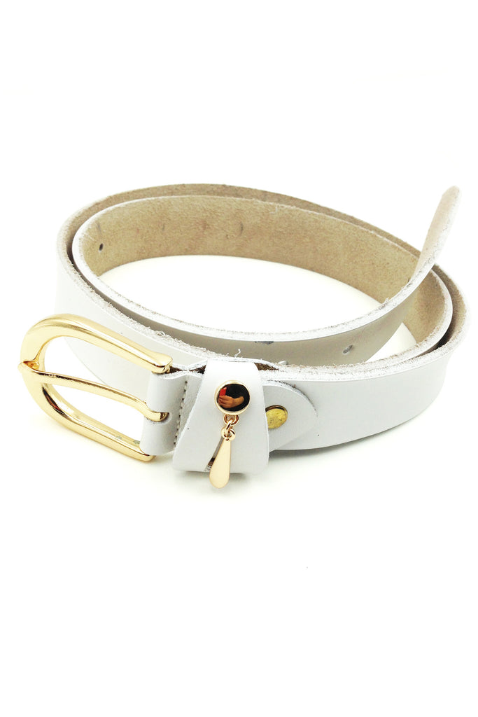 simple pendant gold buckle leather belt