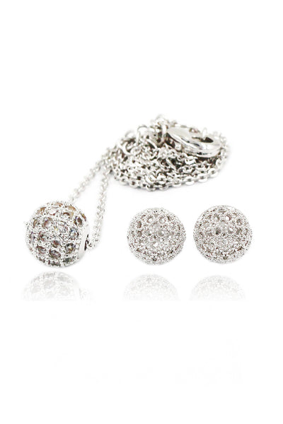 silver ball crystal necklace earrings set