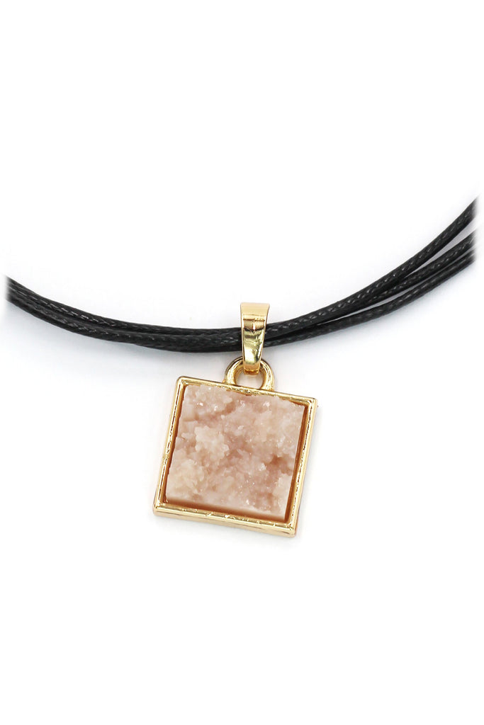 pink square earring necklace set