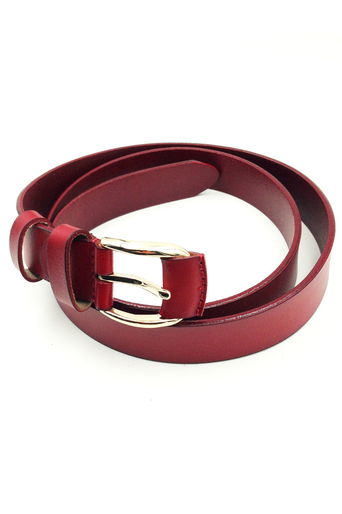 austere style leather gold buckle belt