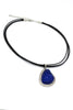 fashion blue crystal original black leather necklace