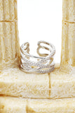 silver fashion cross crystal ring