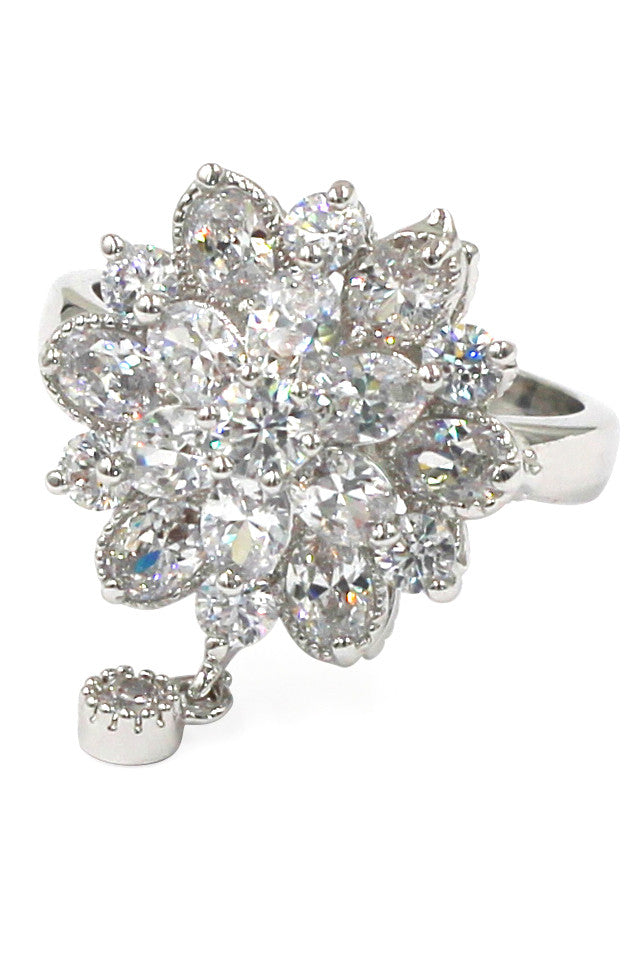 bonzer crystal flower small pendant ring