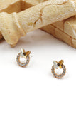 golden mini butterfly crystal earrings