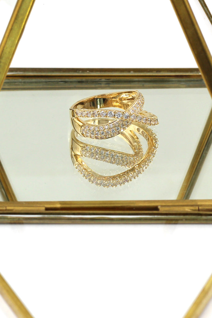 fashion intersect crystal ring
