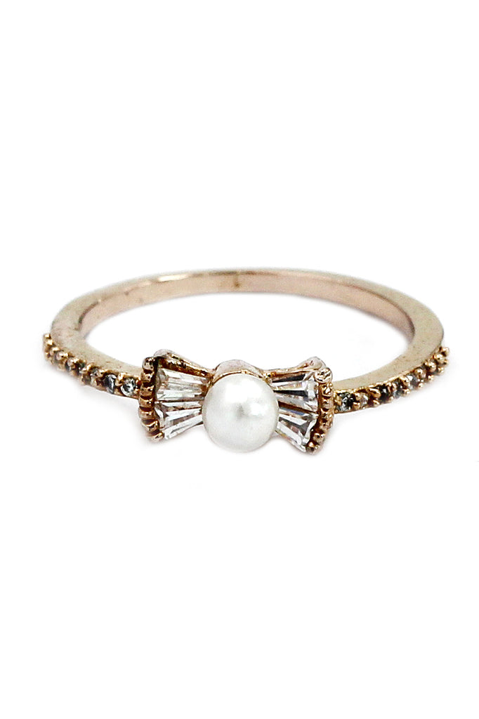 delicate pearl silver plated crystal ring