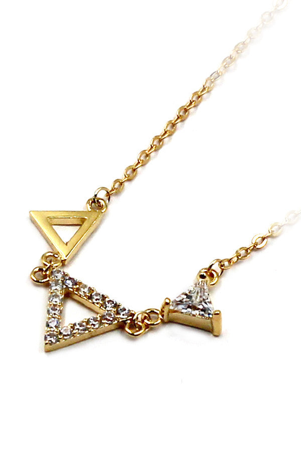 Mini triangles crystal necklace
