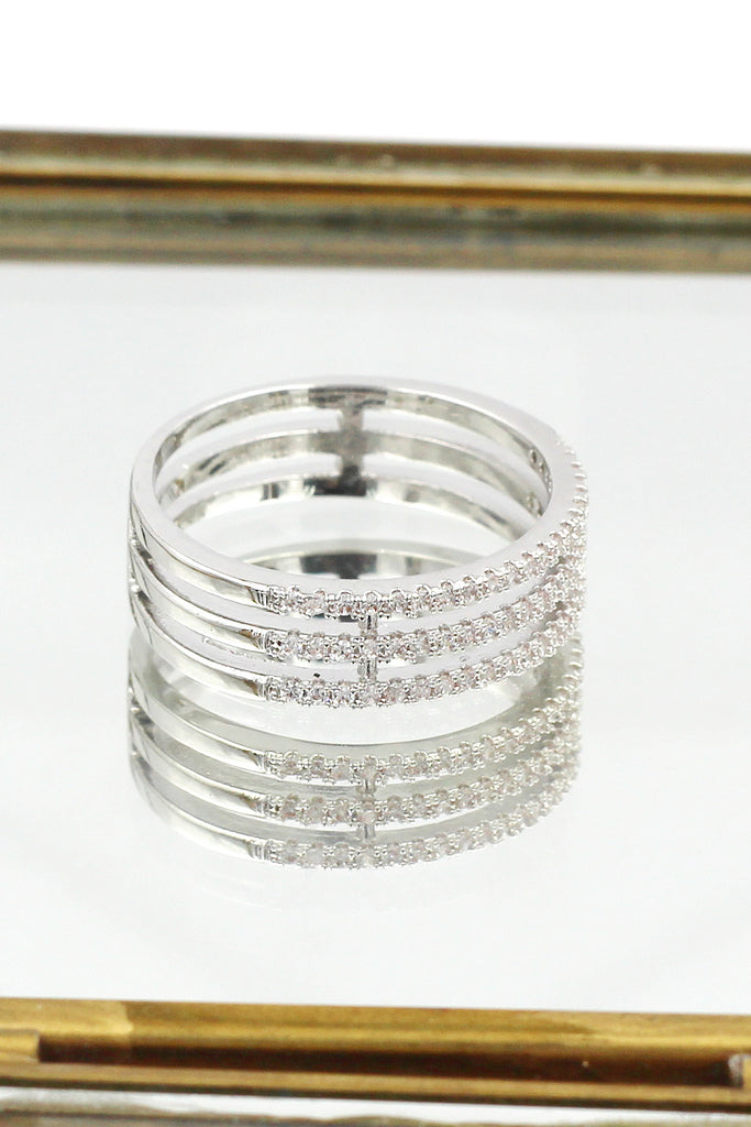 fashion three-tiered crystal ring