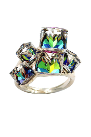 noble silver crystal ring