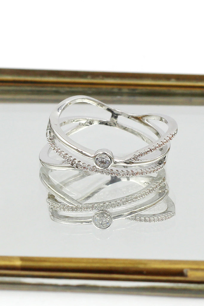 silver irregular crystal ring