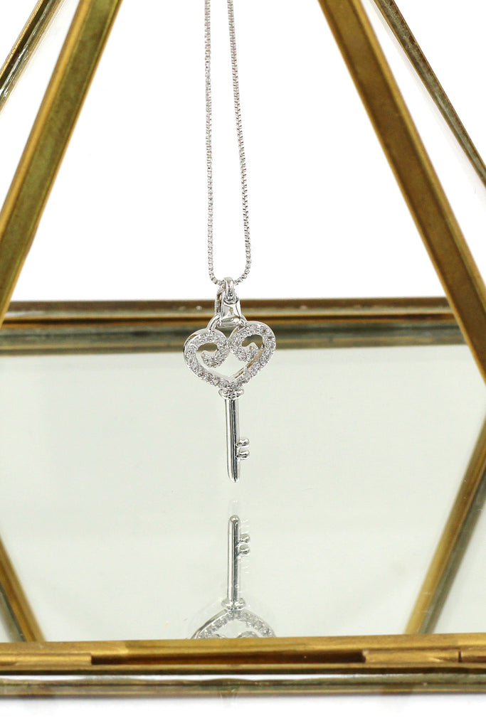 lovely small crystal heart key necklace