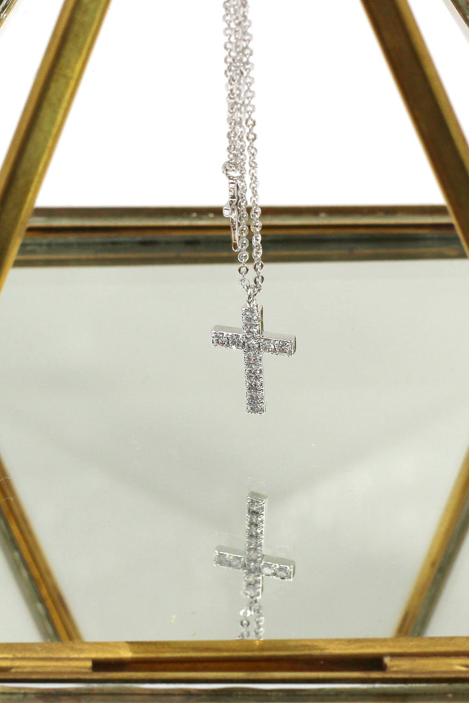 duplexes small crystal cross necklace