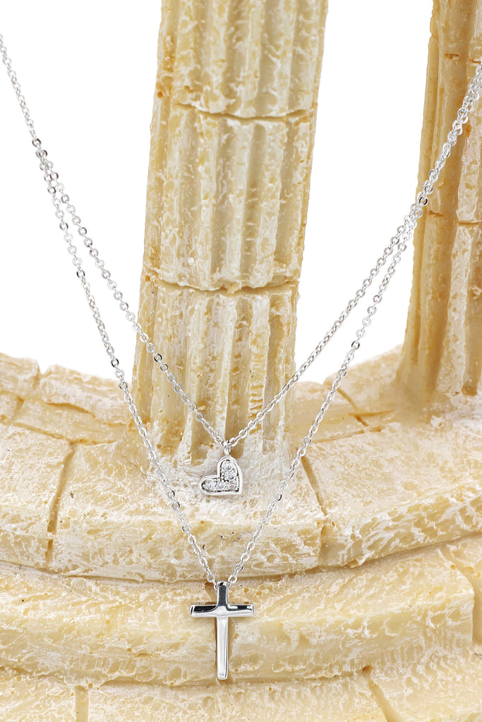 duplexes small crystal cross and heart necklace